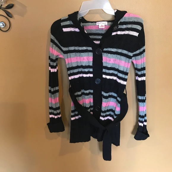 Other - Girl hooded button down pink sweater 10/12